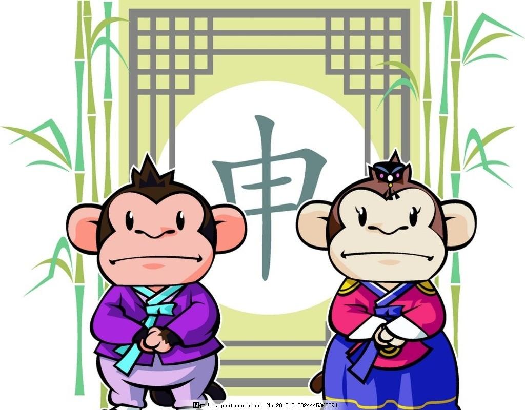 猴子 动物 野生动物 竹子 植物 门 古典 边框 中国风 猴年 装饰 新年