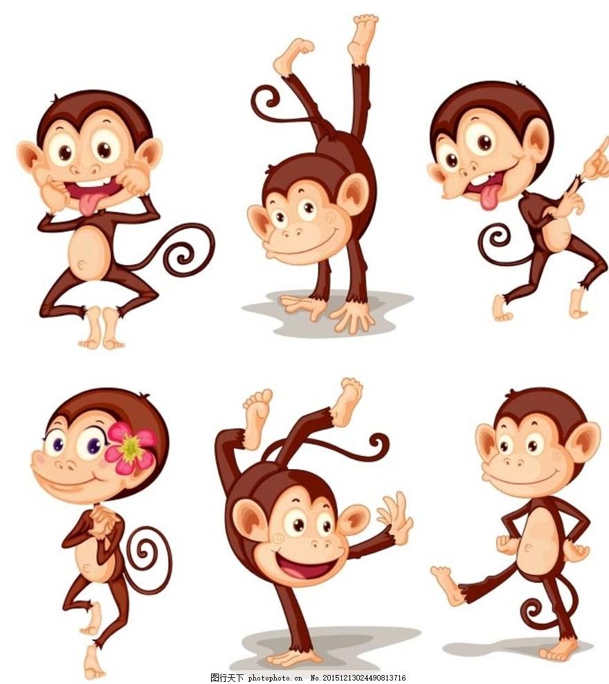 猴子 动物 做鬼脸 倒立 跳舞 戴花 插画 背景 海报 画册 矢量动物