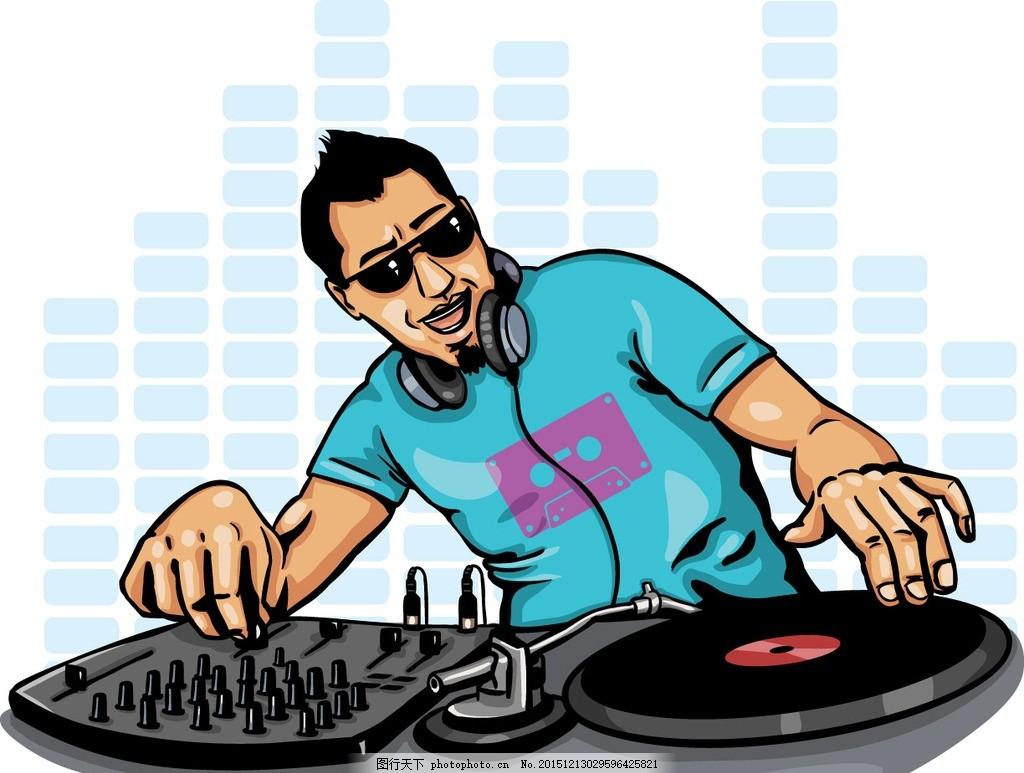 dj打碟 潮流音乐 剪影 立体星星 五角星 音乐符号 黑胶碟 dj音乐海报