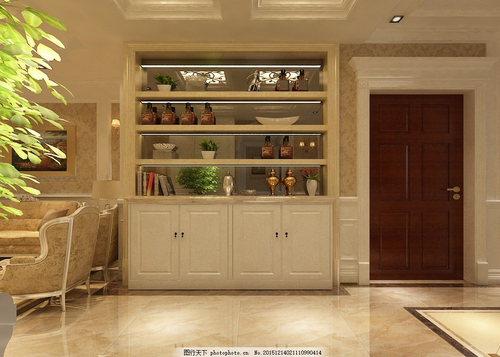 酒柜,客厅效果图 家装设计 欧式设计 简欧装饰 墙板