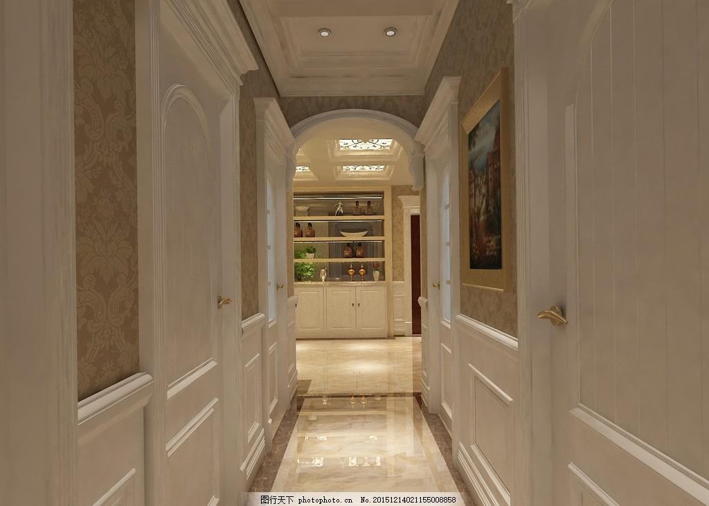 走廊墙板 客厅效果图 家装设计 欧式设计 简欧装饰 墙板设计 墙裙