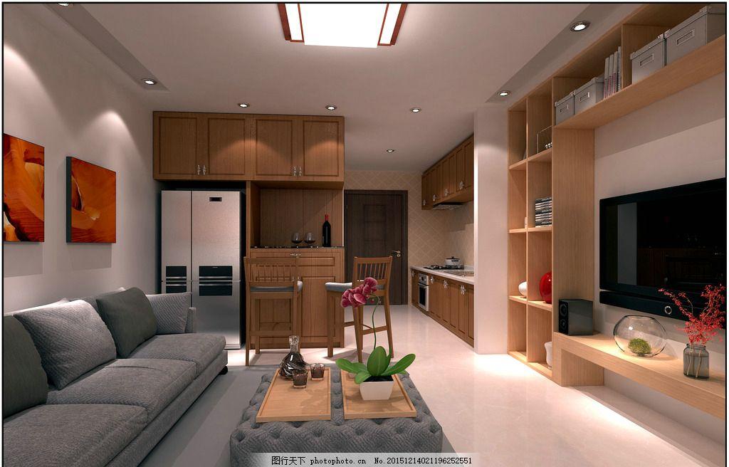 混搭风格单身公寓装修效果图