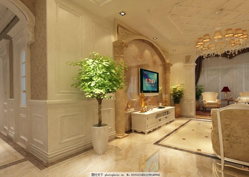 客厅效果图 家装设计 欧式设计 简欧装饰 墙板设计 墙裙 设计 吊客厅