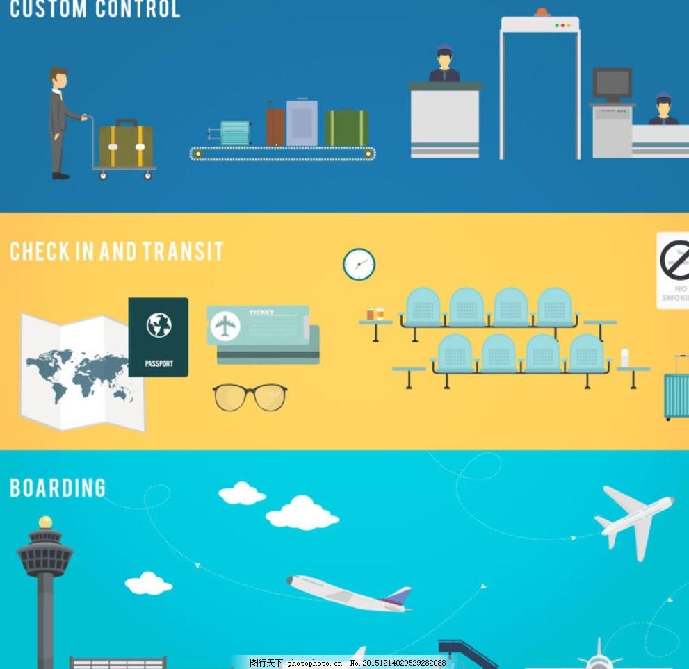 机场元素 安检 飞机场 护照 地图 候机室 行李 跑道 航站楼