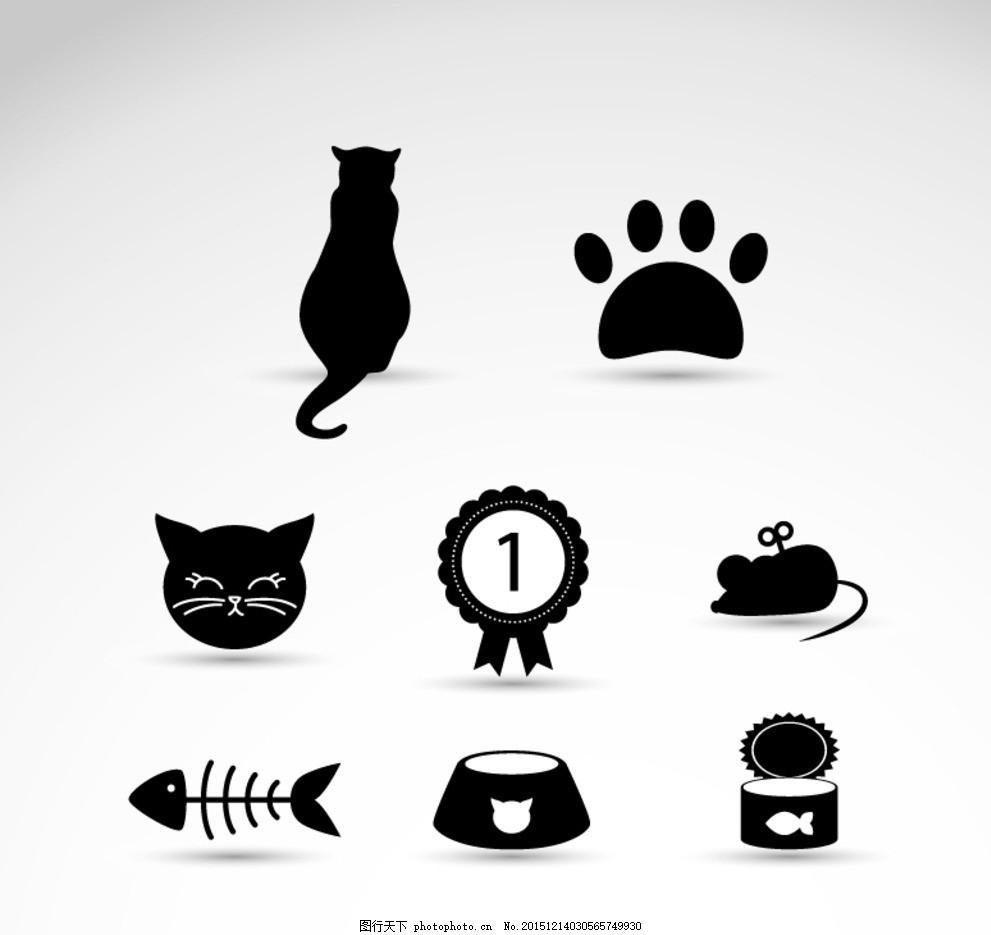 爪子 卡通图 老鼠 图案 花边 卡通 猫咪 黑猫 简单卡通画 卡通猫 设计