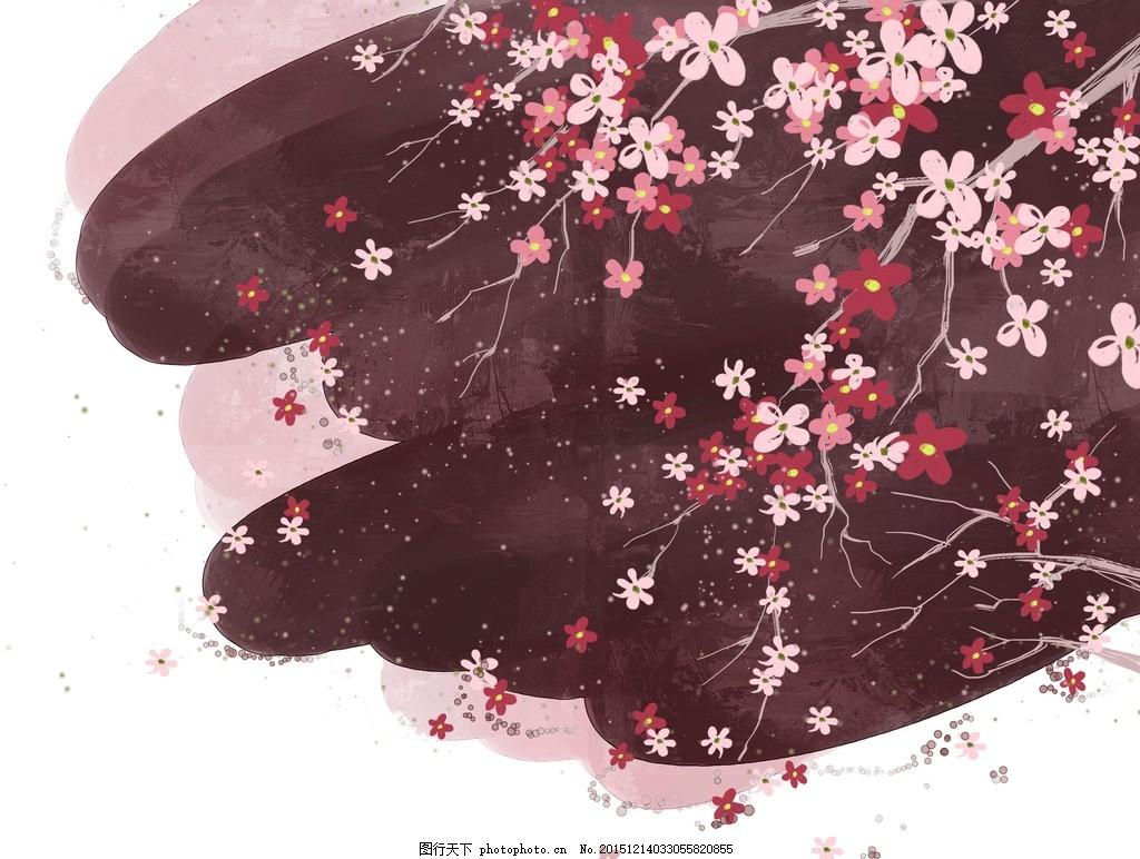 梦幻时尚水彩花朵 水墨花卉背景 红色花朵 红花绿叶 手绘 工笔画花纹