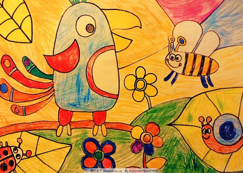 儿童画 学生      欢乐 油画棒 孩子 设计 卡通 水彩画 蜡笔 画 动物