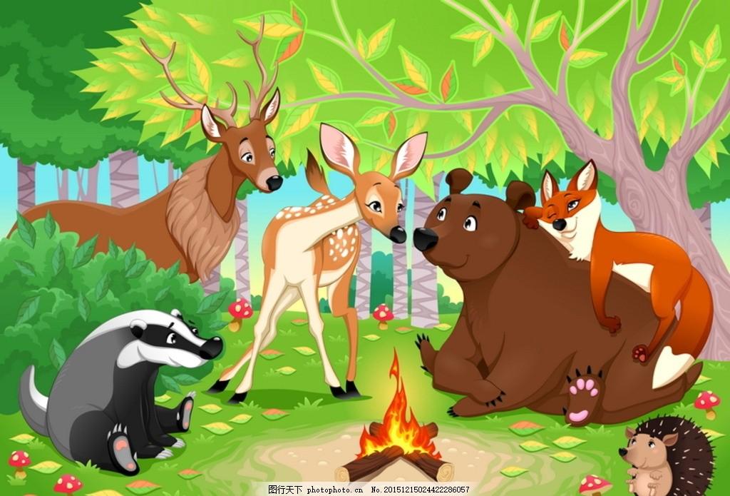 可爱的动物场景 梅花鹿 刺猬