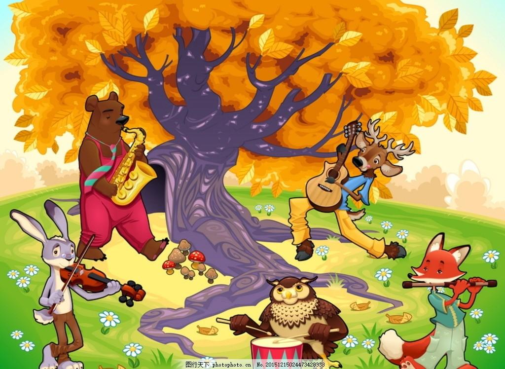 可爱的动物场景 雄鹿猫头鹰狐狸,兔子 熊树 森林-图行