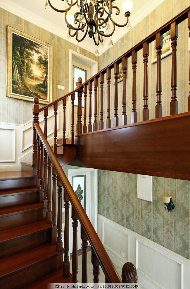 欧式家居 现代欧式室内 墙纸效果 欧式吊灯 楼梯 欧式楼梯 扶手