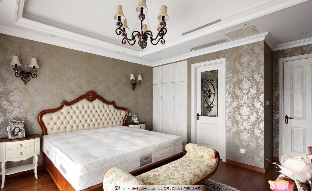 现代欧式室内 墙纸效果 欧式吊灯 欧式大床 床头柜 摆件 台灯 家居