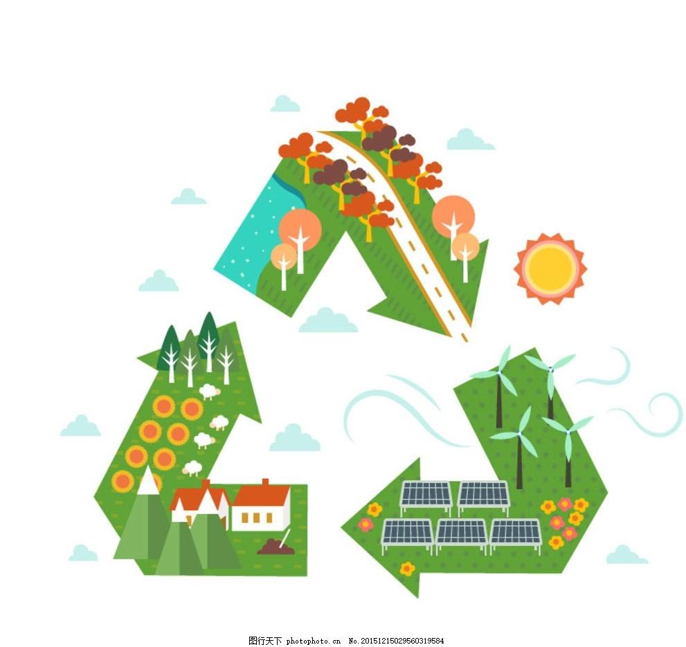 可循环标志 可循环 标志 世界 树木 大树 植物 太阳 电力风车 太阳能 花卉 花朵 云朵 雪山 山峰 房屋 房子 屋子 住房 住宅 绵羊 农场 箭头 装饰 卡片 插画 背景 海报 画册 广告设计 平面素材 设计 广告设计 广告设计 AI