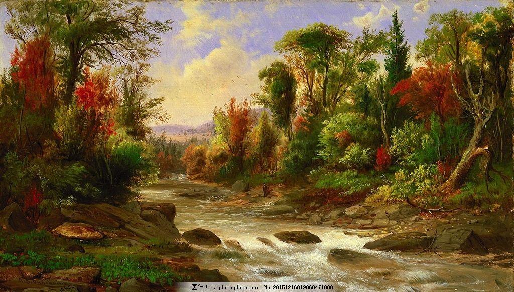 绘画艺术 树林 小溪 画画 高清绘画 墙画素材 壁画素材 无框画素材