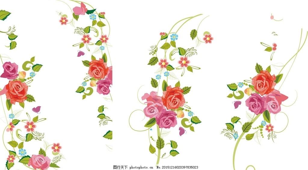 花 矢量玫瑰 红色花 矢量花 花卉 牡丹 玫瑰 花蕾 边框素材 花边框