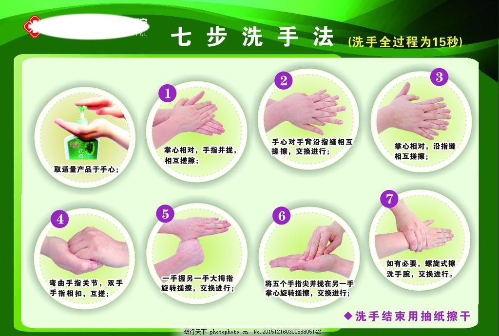 洗手七步骤 洗手的方法 医院标识 绿色背景图 儿童洗手步骤