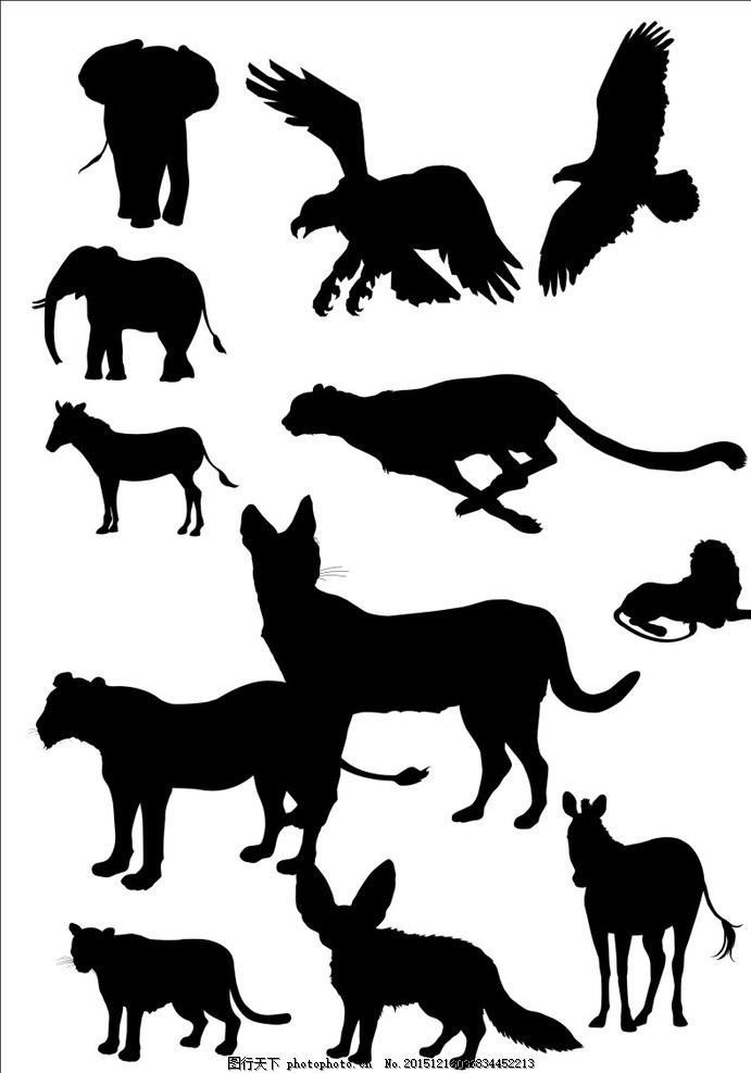 豹子剪影图 狼剪影图 动物剪影图 矢量动物 设计 其他 图片素材 cdr