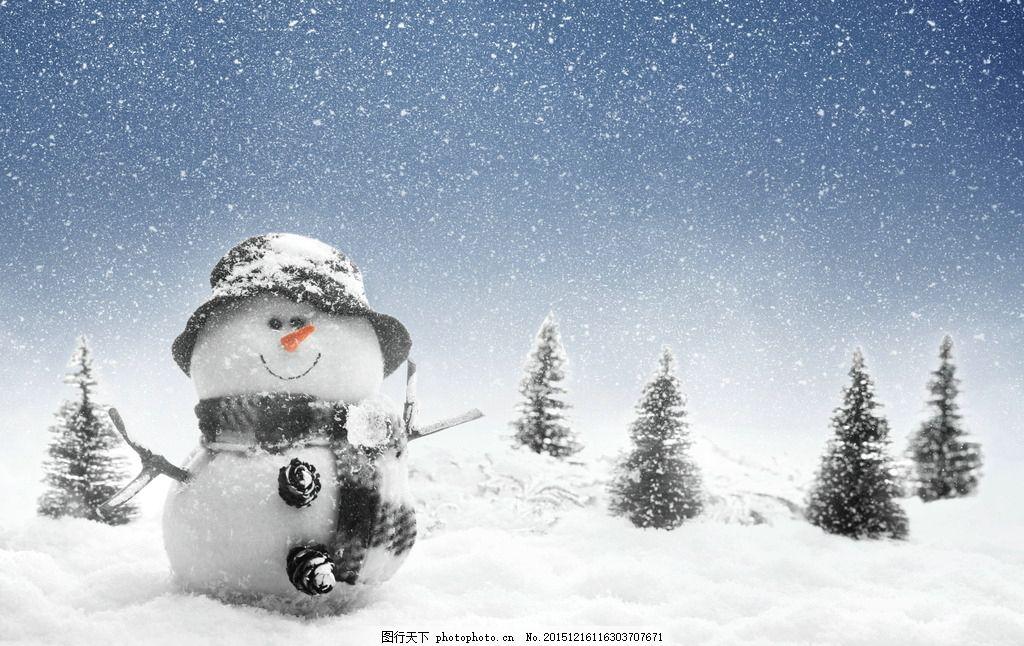 雪人唯美意境 冬季 冬天 雪地 白雪 雪花 下雪 雪天 下雪天
