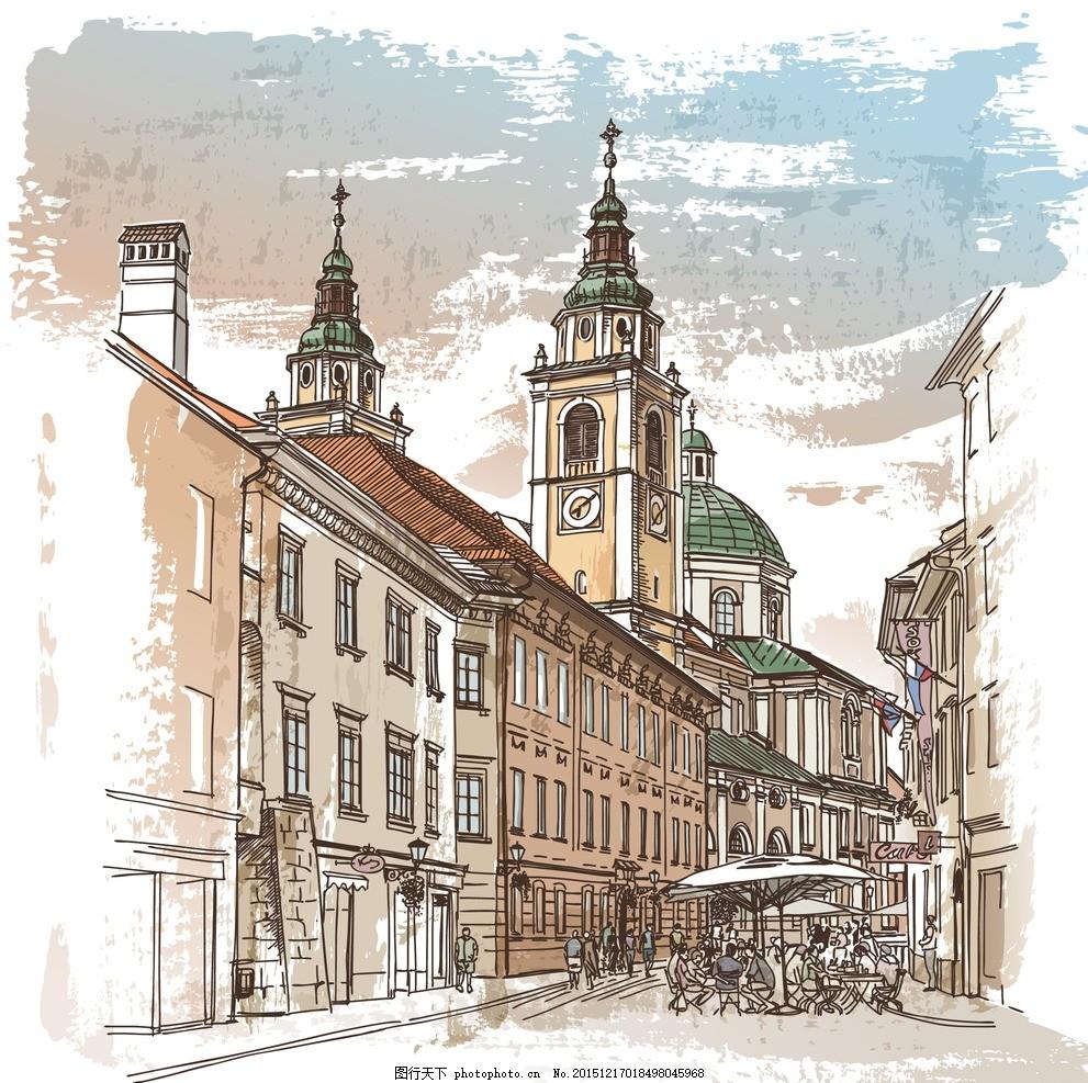 手绘 建筑手绘 手绘英伦城 英伦城 手绘建筑 手绘街道 地产广告设计