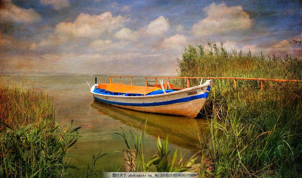 河流 草 船 绘画 绘画艺术 画画 河 河船 天空 云彩 自然建筑风景