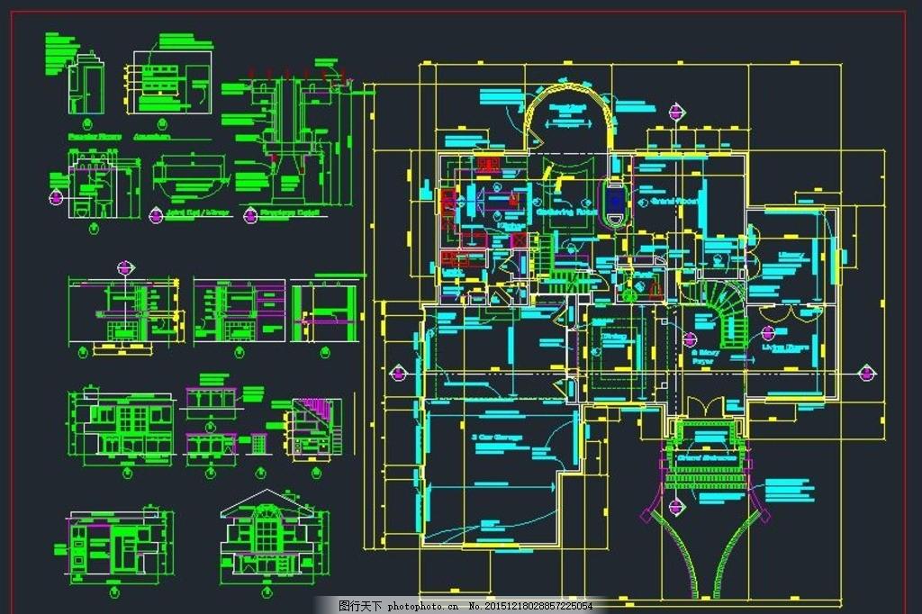 阳台绿化 别墅绿化 室内装修 别墅景观 设计 环境设计 施工图纸 dwg