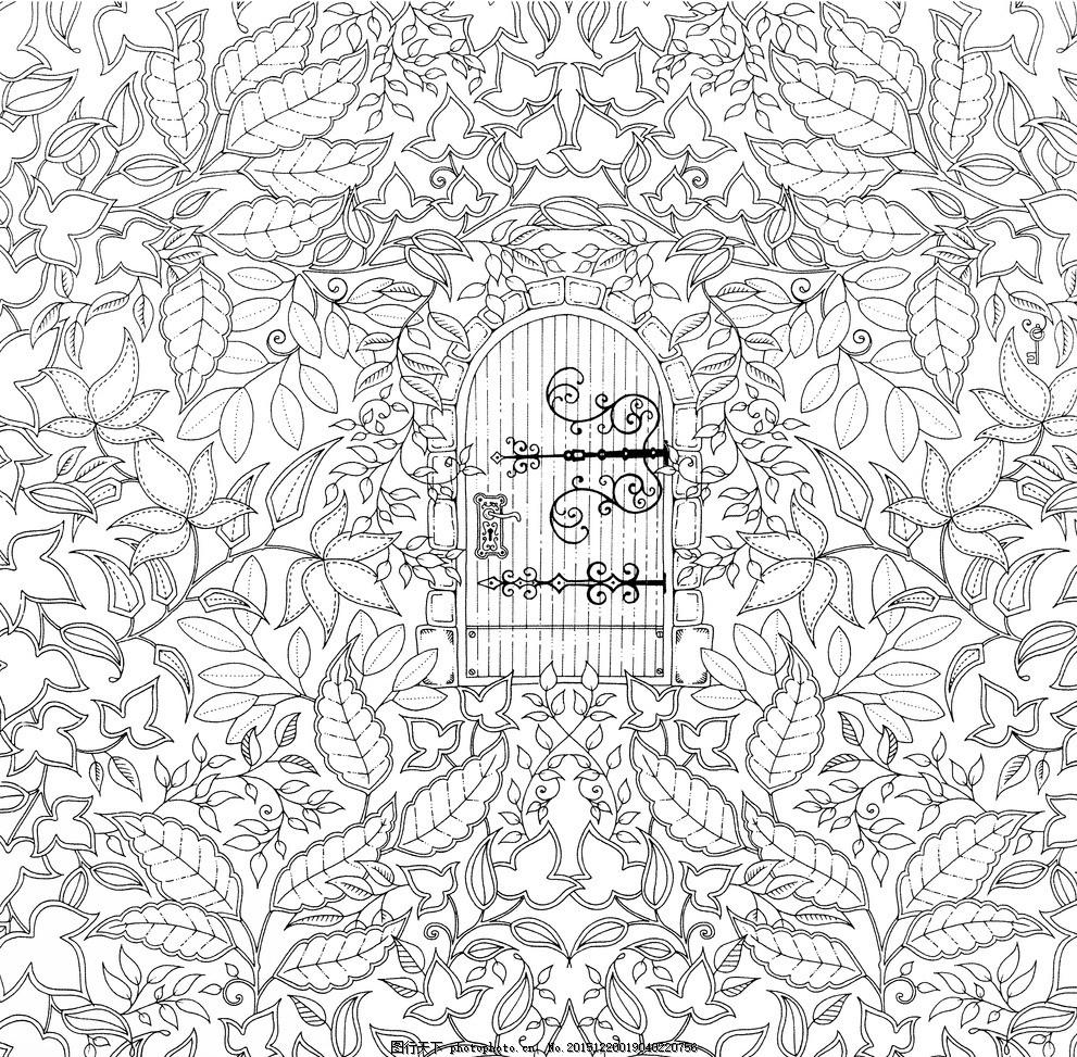 秘密花园 手绘图 黑白图 自然景观 彩绘图 风景图 设计 文化艺术 绘画