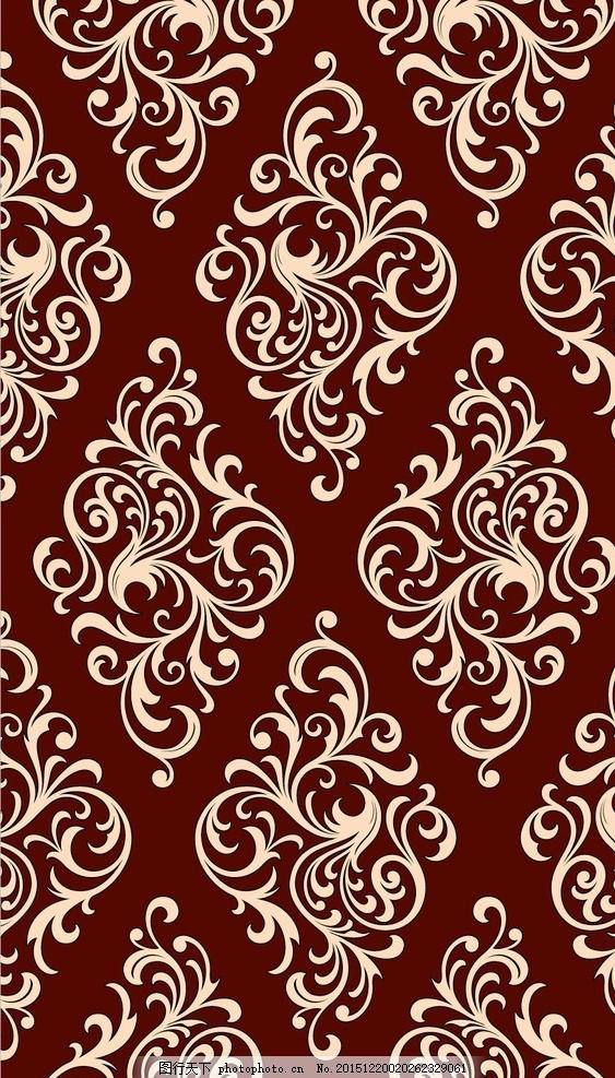 棕色复古花纹背景 花边 欧式 纹理 暗纹