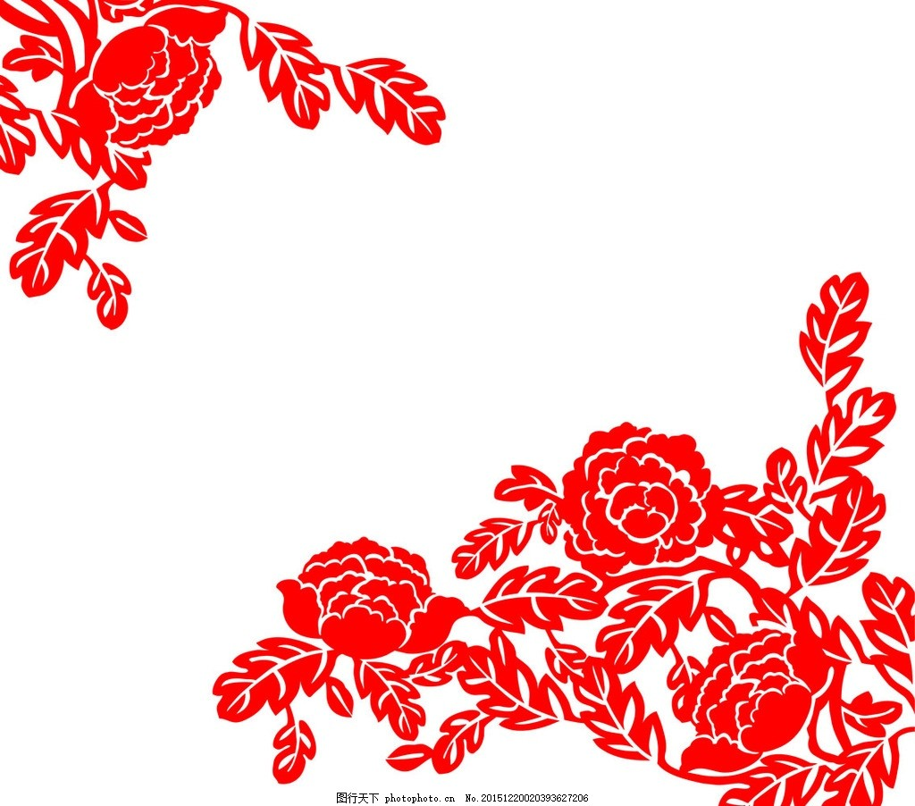 牡丹花 雕刻矢量图