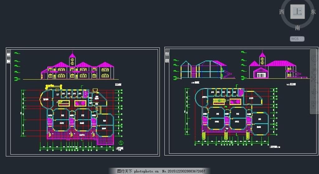 城堡式二层幼儿园施工设计图 欧式幼儿园 堡垒式幼儿园 幼儿教育