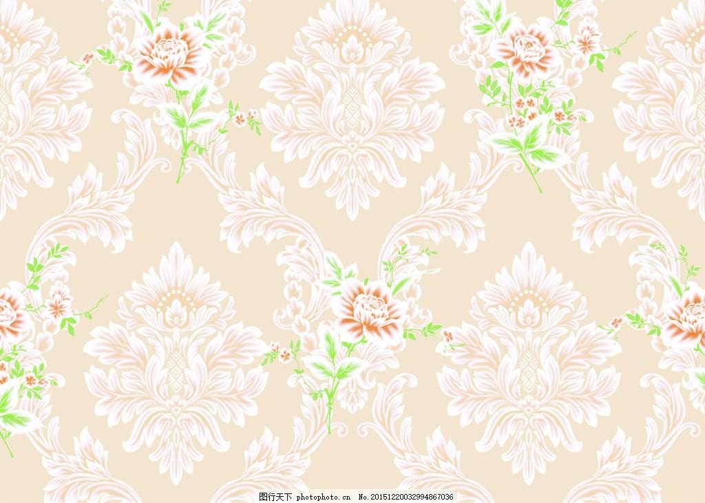 欧式 田园风格壁纸 分层 无缝 欧式壁纸 田园壁纸 贴图 壁纸贴图