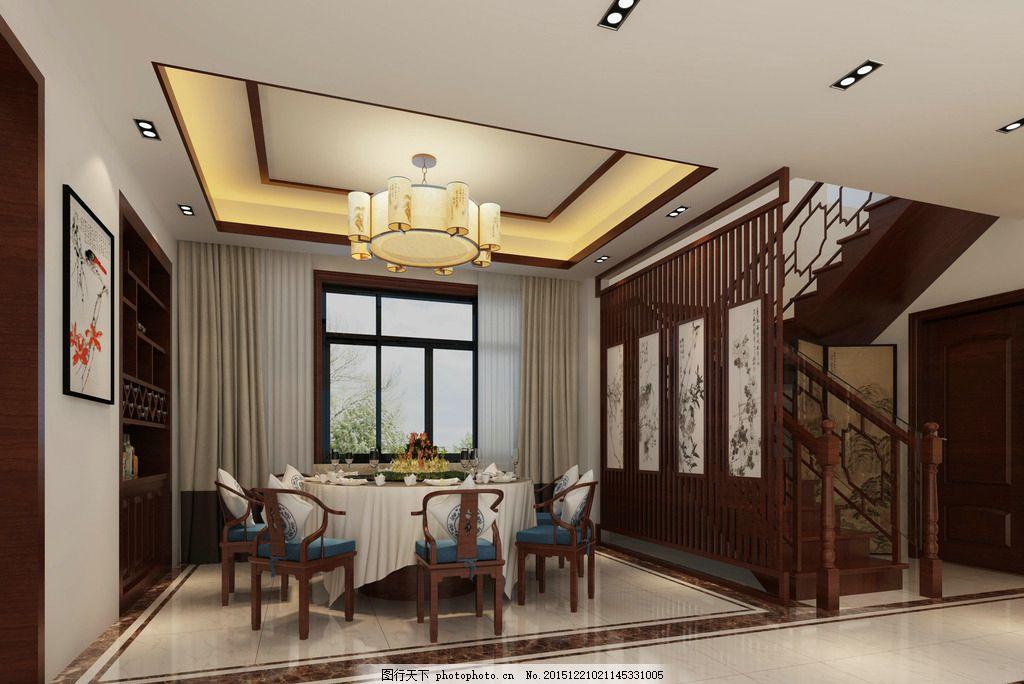 新中式效果圖茶室