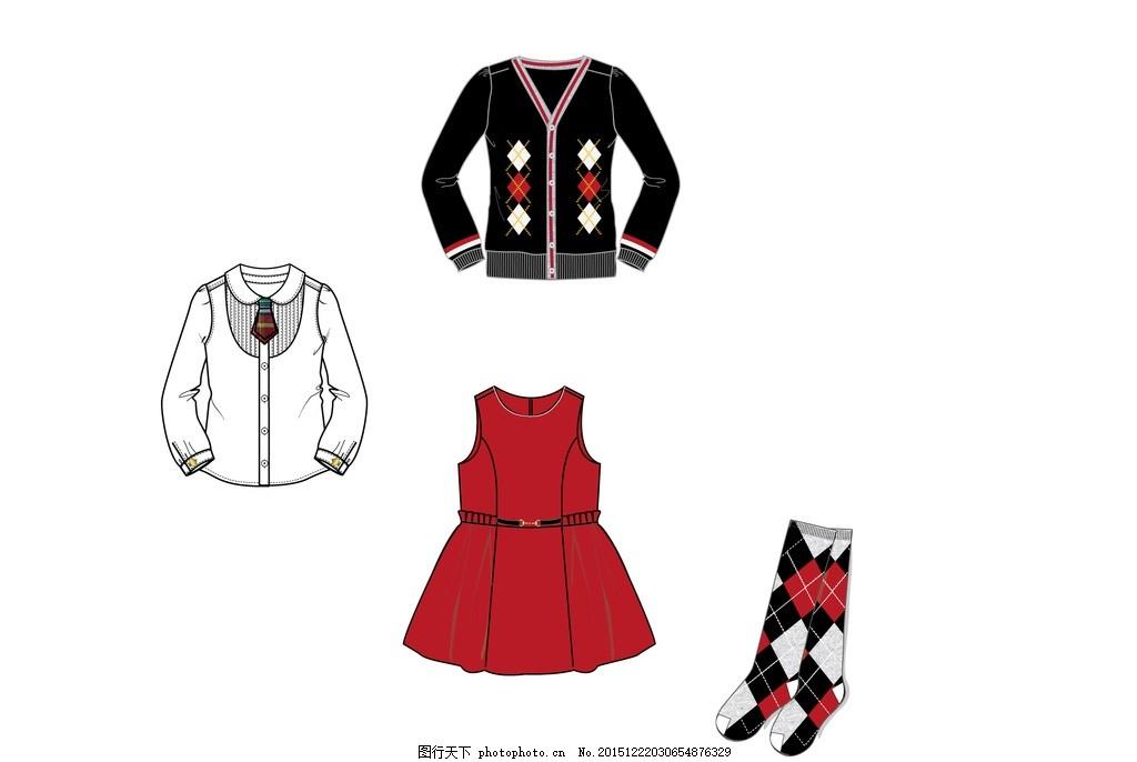 校服套装 女童 学院风 衬衫 洋装 连衣裙 袜子 设计 广告设计 服装