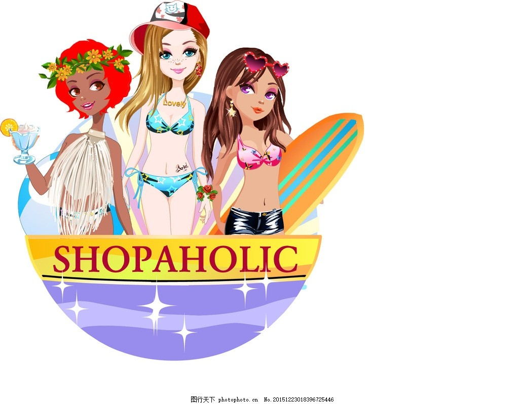 泳装美女 沙滩 滑板 黑人美女 酒杯 帽子 花环 矢量卡通 动漫动画