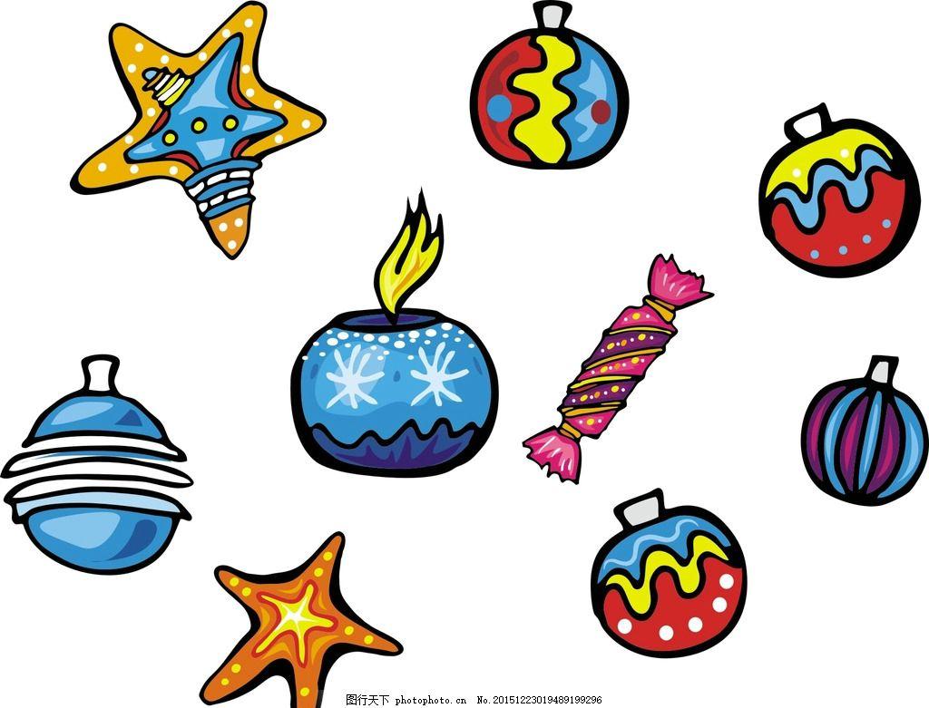 五星 铃铛 圣诞素材 卡通素材 可爱 手绘素材 儿童素材 幼儿园素材