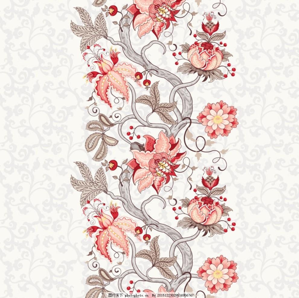 手绘花卉花边 复古花蔓设计 手绘花卉背景 红色花卉 花纹 无缝背景