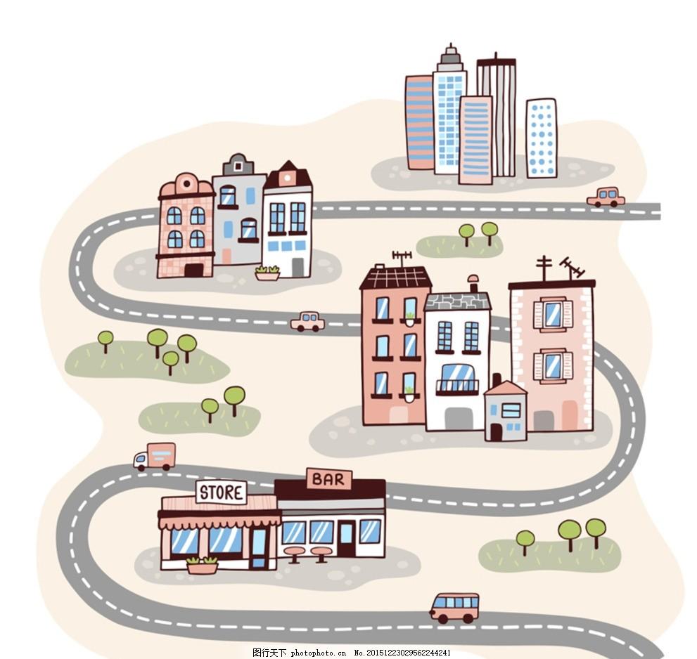 建筑卡通 卡通建筑 房地产 名胜建筑 河边城市 滨水城市 线条城市