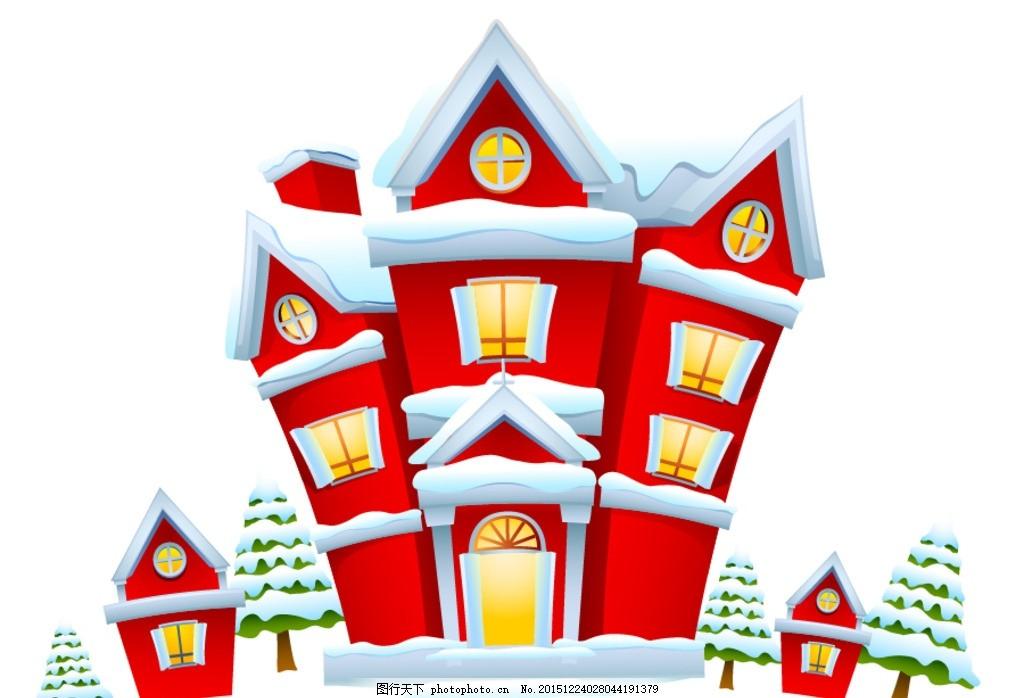 冬季房子 卡通 卡通装饰 创意 可爱卡通素材 手绘 手绘素材 韩国插画