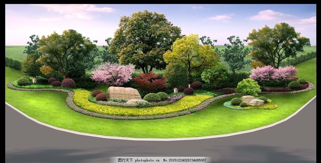 节点效果图 绿化 道路 园林 景观 道路绿化
