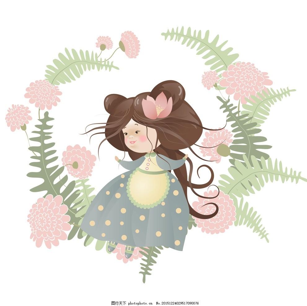 卡通女孩 卡通小女孩 女孩 花环 鲜花 绘画 时尚卡通女孩 卡通女生