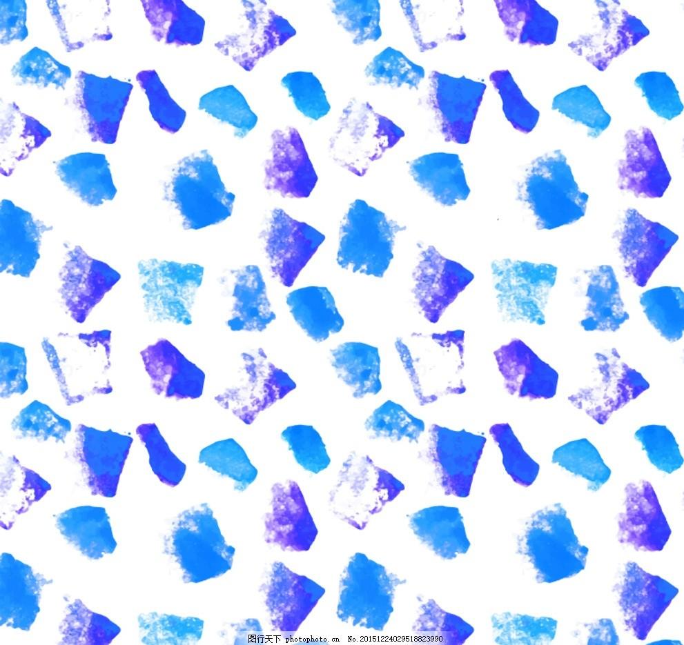 蓝色方块背景 蓝色 方块 无缝背景 冰块 颜料 墨渍 装饰 墨迹 卡片