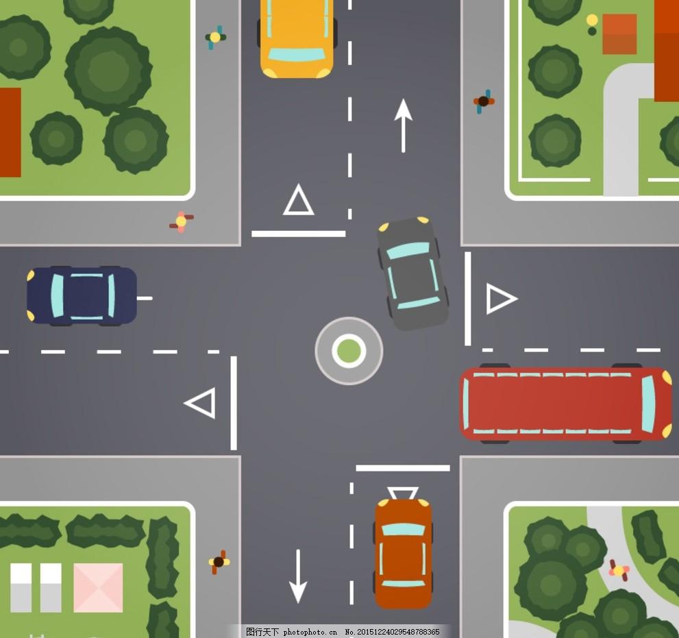 十字路口 人 公交车 道路 车辆 树木 房屋 十字路 俯视图 交通 设计