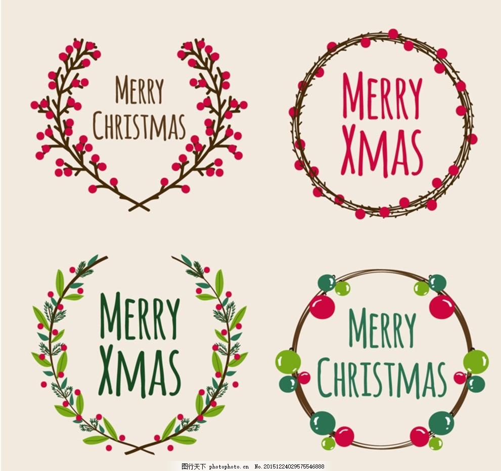手绘花环 圣诞花环 手绘圣诞花环 圣诞节 冬珊瑚 植物