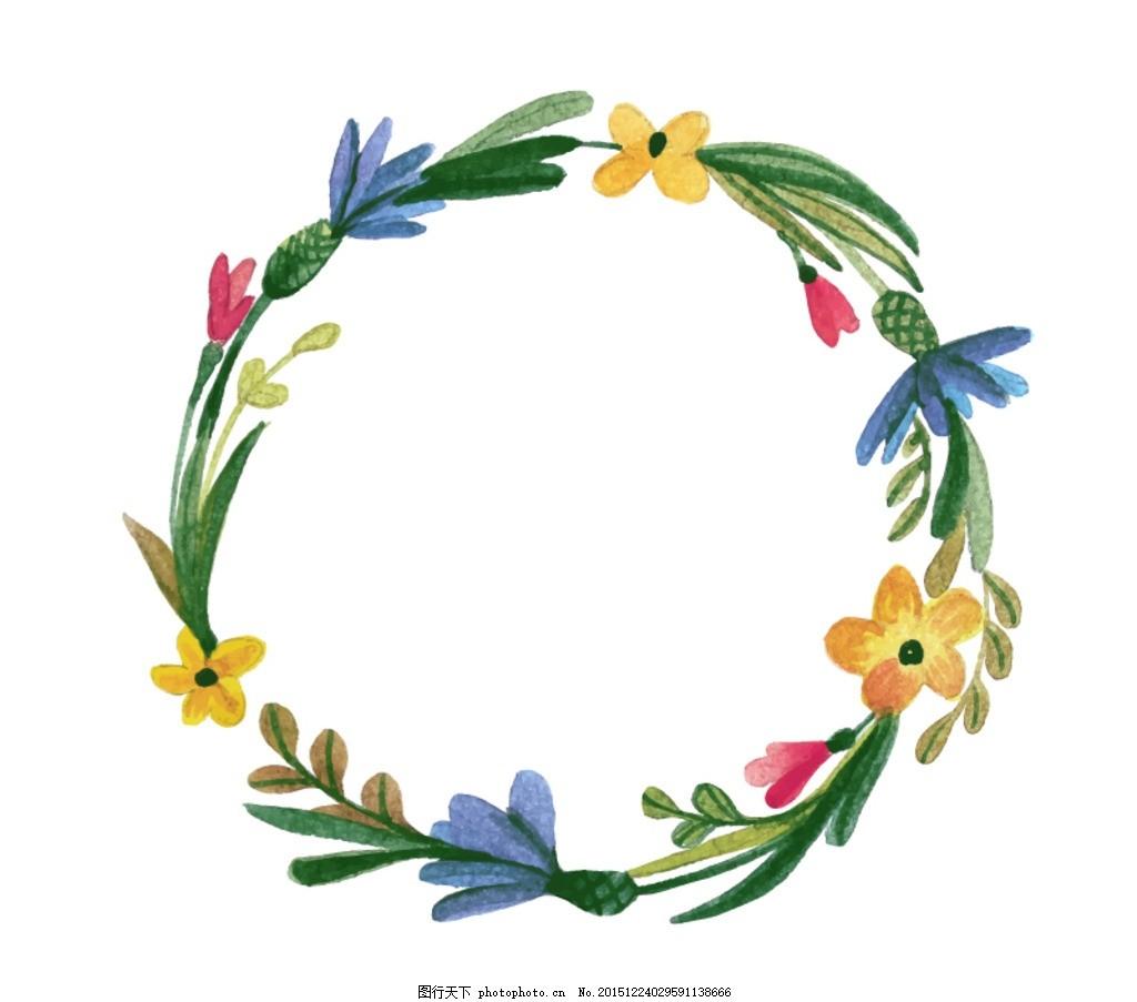 水彩花环,淡水彩 手绘 清新 花束 花圈 高清图 彩铅