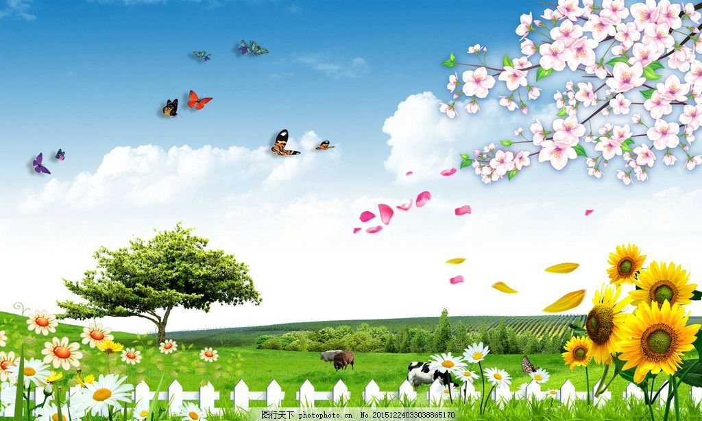 风景画 风景 画 向日葵 蝴蝶 树 喷绘 写真 设计 psd分层素材 psd分层