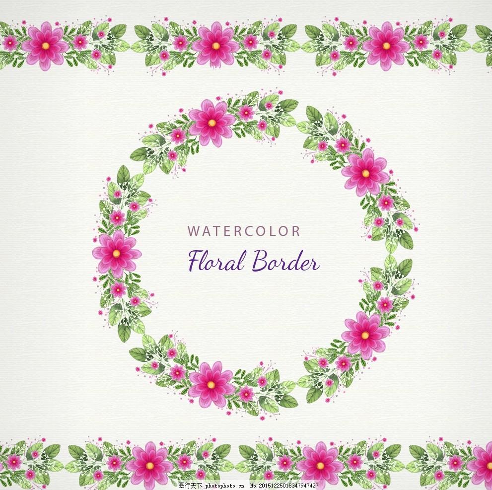 花卉边框 红色花朵 手绘花草 手绘花卉 矢量花卉花边 花边素材 照片