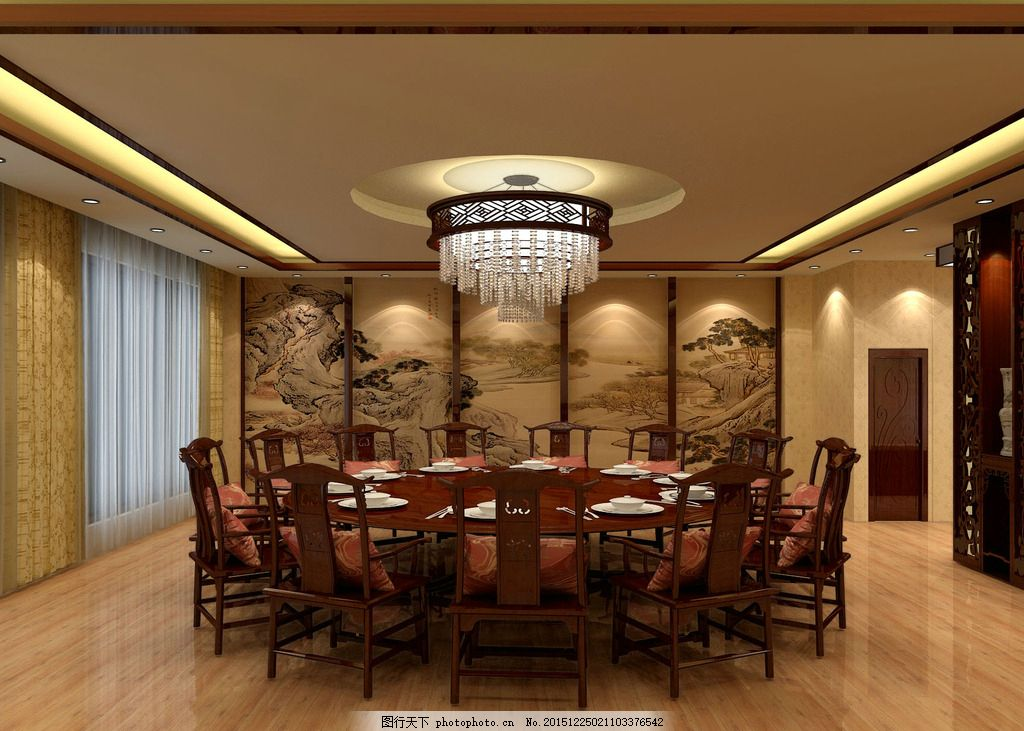 酒店包厢 饭店 包间 红木 木质 中式 效果图 工装图片