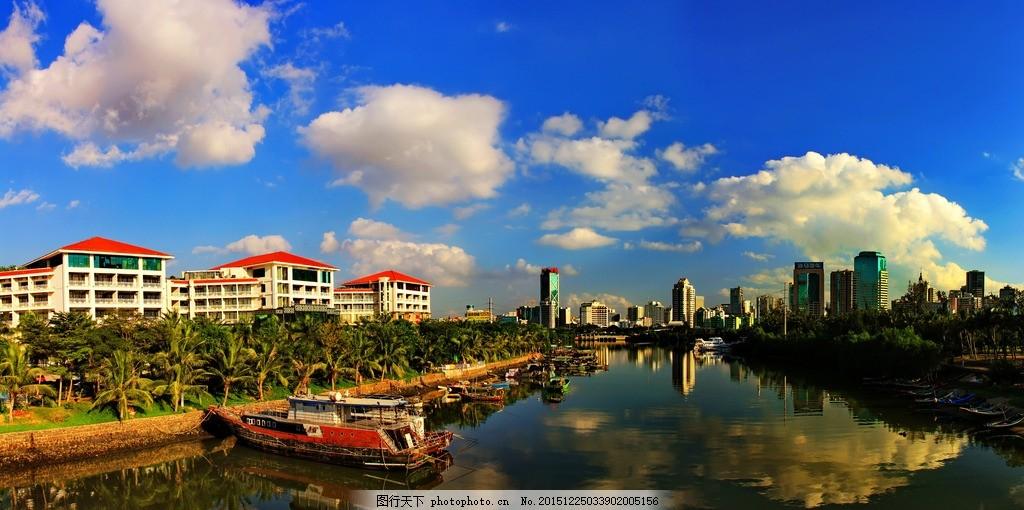 海口风景片 红顶建筑物 高楼 椰树 船 水景 摄影 国内旅游