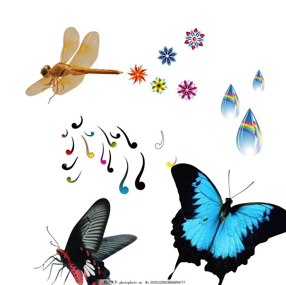 蝴蝶 花朵 水滴 卡通昆虫 可爱 昆虫素材 虫子素材 虫子 昆虫卡通动物