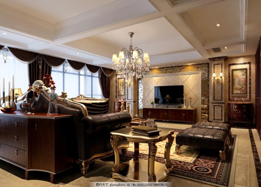 客厅效果图 欧式客厅 沙发 茶几 电视背景墙 黑镜 墙纸 电视柜