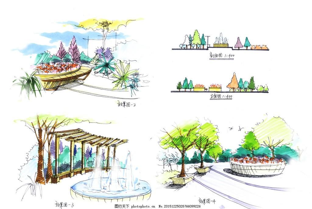 牡丹园效果图 手绘        牡丹园 廊架 立面 设计 环境设计 园林设计