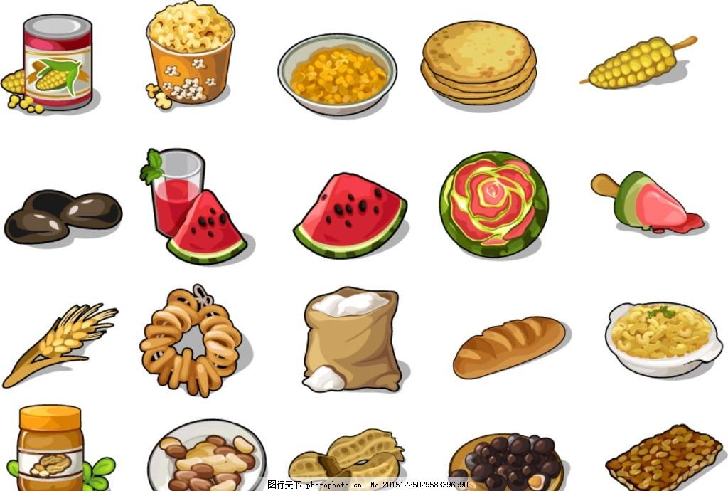 美食图标 美味 食品 标签 食物 玉米 玉米罐头 爆米花 糖饼